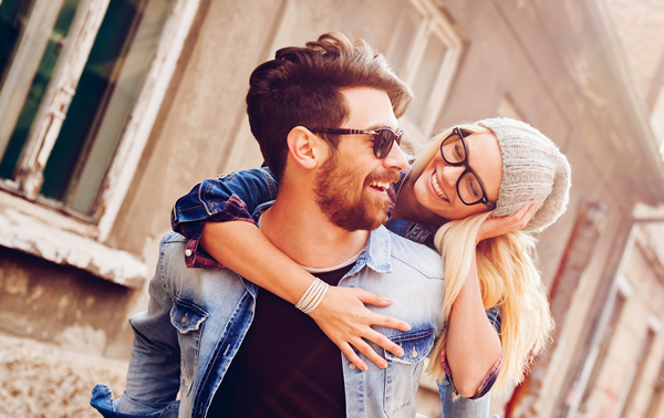 Happy Couple with Stylish Frames and Personalized Lenses